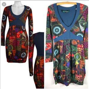 Desigual Flotencial Colorful Long Sleeve Dress 691